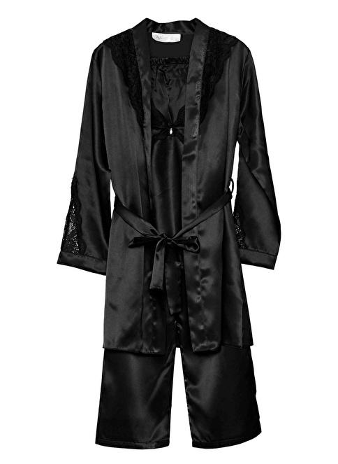 19V69 Italia Dantelli Sabahlık Pijama  Saten Takım Siyah